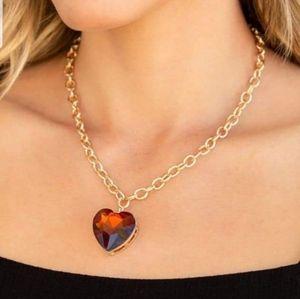 Flirtatiously flashy brown heart necklace